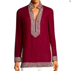 Tory Burch Embellished Linen Tunic In Red Cordovan